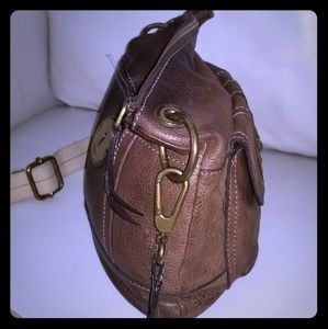Dark brown leather Fossil shoulder bag crossbody